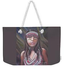 Weekender Tote Bag featuring the pastel Peruvian Girl by Julie Brugh Riffey