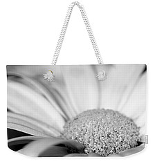 Weekender Tote Bag featuring the photograph Petals - Black And White by Angela Rath