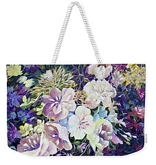 Weekender Tote Bag featuring the painting Petals by Joanne Smoley