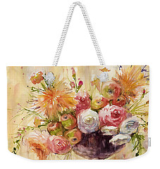 Petite Apples In Floral Weekender Tote Bag by Judith Levins