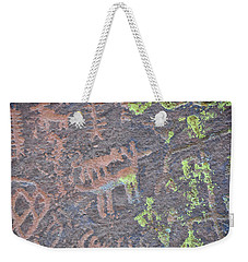 Petroglyph Wolf Attack Weekender Tote Bag