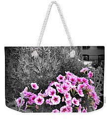 Weekender Tote Bag featuring the photograph Petunias In Brooklyn Circa 2006 by Iowan Stone-Flowers
