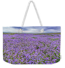 Phacelia Field And Clouds Weekender Tote Bag