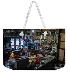 Weekender Tote Bag featuring the photograph Phakding Teahouse Kitchen Morning by Mike Reid