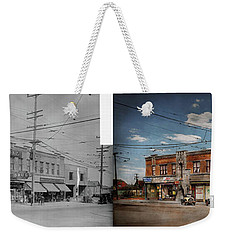 Weekender Tote Bag featuring the photograph Pharmacy - The Corner Drugstore 1910 - Side By Side by Mike Savad
