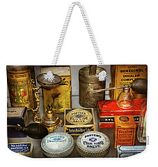 Weekender Tote Bag featuring the photograph Pharmacy - The Pain King by Mike Savad