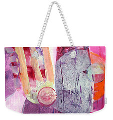 Weekender Tote Bag featuring the painting Phases by Mary Schiros