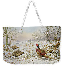 Pheasant And Partridges In A Snowy Landscape Weekender Tote Bag by Carl Donner