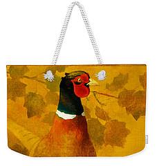 Pheasant In Yellow Weekender Tote Bag