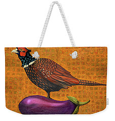 Pheasant On An Eggplant Weekender Tote Bag