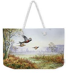 Pheasants In Flight  Weekender Tote Bag by Carl Donner
