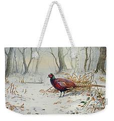 Pheasants In Snow Weekender Tote Bag by Carl Donner