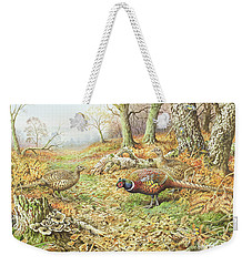 Pheasants With Blue Tits Weekender Tote Bag by Carl Donner