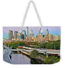 Philadelphia At Dusk Weekender Tote Bag by Frozen in Time Fine Art Photography
