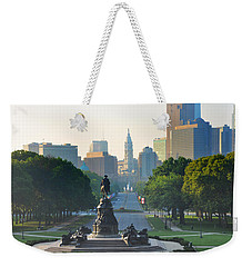 Weekender Tote Bag featuring the photograph Philadelphia Benjamin Franklin Parkway by Bill Cannon