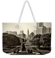 Philadelphia Benjamin Franklin Parkway In Sepia Weekender Tote Bag