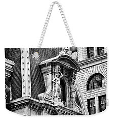Weekender Tote Bag featuring the photograph Philadelphia City Hall Window In Black And White by Bill Cannon