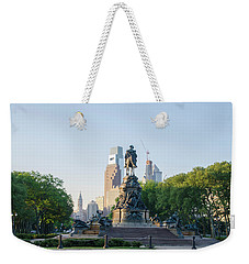 Weekender Tote Bag featuring the photograph Philadelphia Cityscape From Eakins Oval by Bill Cannon