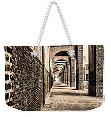 Weekender Tote Bag featuring the photograph Philadelphia - Franklin Field Archway In Sepia by Bill Cannon