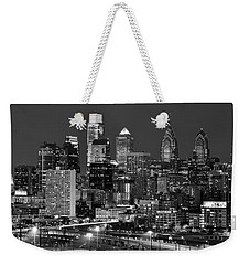 Philadelphia Skyline At Night Black And White Bw  Weekender Tote Bag