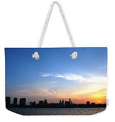 Philadelphia Skyline Low Horizon Sunset Weekender Tote Bag by Matt Harang