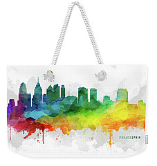 Philadelphia Skyline Mmr-uspaph05 Weekender Tote Bag by Aged Pixel