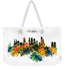 Philadelphia Watercolor Skyline Weekender Tote Bag by Marian Voicu