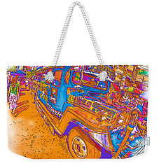 Philippine Girl Walking By A Jeepney Weekender Tote Bag