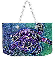Weekender Tote Bag featuring the digital art Phillis The Turtle by Erika Swartzkopf