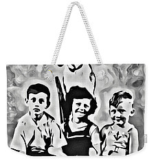Weekender Tote Bag featuring the digital art Philly Kids With Petey The Dog by Joan Reese