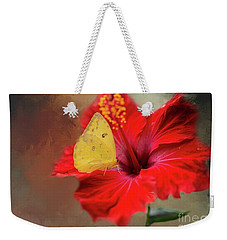 Phoebis Philea On A Hibiscus Weekender Tote Bag by Eva Lechner