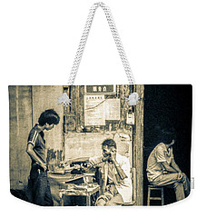 Weekender Tote Bag featuring the photograph Phonecall On Chinese Street by Heiko Koehrer-Wagner