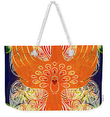 Weekender Tote Bag featuring the digital art Phonix Rising Abstract Healing Art By Omashte by Omaste Witkowski