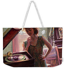 Weekender Tote Bag featuring the painting Phonograph Days by Steve Henderson