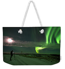 Photographer Under The Northern Light Weekender Tote Bag