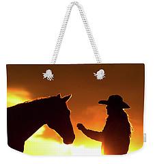 Cowgirl Sunset Sihouette Weekender Tote Bag