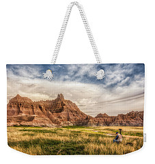 Photographer Waiting For The Badlands Light Weekender Tote Bag