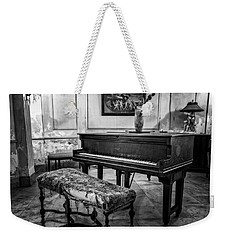 Weekender Tote Bag featuring the photograph Piano At Josie's House Bw by Joan Carroll