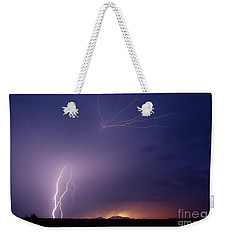 Weekender Tote Bag featuring the photograph Picacho Peak Spider-signed by J L Woody Wooden