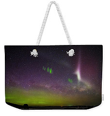 Weekender Tote Bag featuring the photograph Picket Fences And Proton Arc, Aurora Australis by Odille Esmonde-Morgan