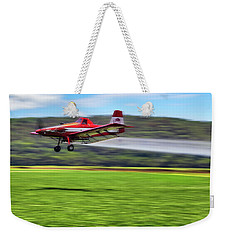 Weekender Tote Bag featuring the photograph Picking It Up And Putting It Down - Crop Duster - Arkansas Razorbacks by Jason Politte