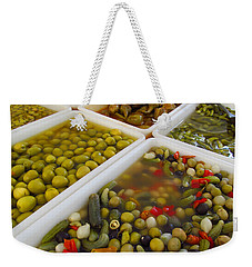 Weekender Tote Bag featuring the photograph Pickled Olives And Others by Tina M Wenger