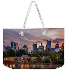 Weekender Tote Bag featuring the photograph Piedmont Park Midtown Atlanta Sunset Art by Reid Callaway