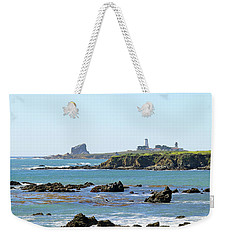 Weekender Tote Bag featuring the photograph Piedras Blancas Lighthouse by Art Block Collections