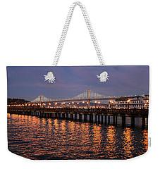 Pier 7 And Bay Bridge Lights At Sunset Weekender Tote Bag