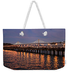Pier 7 And Bay Bridge Lights At Sunset Weekender Tote Bag