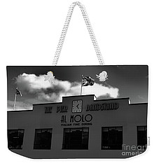 Weekender Tote Bag featuring the photograph Pier Bandstand Weymouth Mono by Baggieoldboy