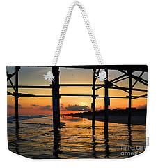 Oak Island Pier Sunset Weekender Tote Bag