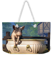 Weekender Tote Bag featuring the digital art Pig In A Bathtub by Daniel Eskridge