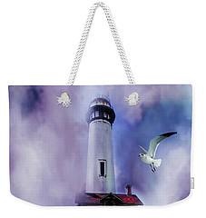 Pigeon Lighthouse With Fog Weekender Tote Bag